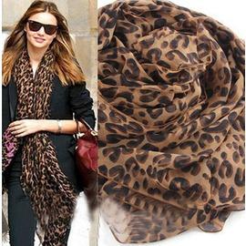 韓國 女U型豹紋圍巾超大超長款披肩 原單雪紡絲巾防曬披肩圖片色