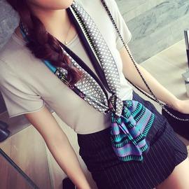 韓國 春天 長條百搭裝飾小絲巾女圍巾 工作領巾廠家 菱形格米色