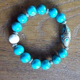 ~珍幸福~~天然綠松石 綠松石銅珠 硨磲石 純銀飾 手鍊 ~ ∼西方十二月的誕生石•象徵著