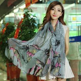 海棠花圍巾 女 春夏棉麻披肩絲巾兩用加大超長款空調圍巾灰色