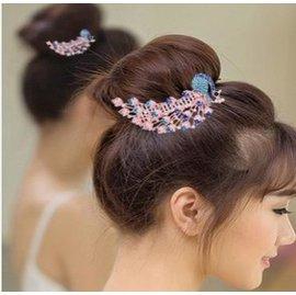 ~盤發髮飾新娘頭飾 表演節目帶齒盤發髮梳排梳孔雀發插