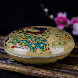 5Cgo ~ 七天交貨~524748140898 景德鎮陶瓷器書畫印盒複古黃釉印泥盒子文房
