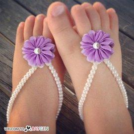 甜美寶寶蕾珍珠花朵腳花 腳環 腳鍊 攝影寫真【HH婦幼館】