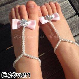 歐美熱銷 嬰兒珍珠鍊 花朵水鑽 腳飾 腳花 寶寶攝影 道具 腳環 【HH婦幼館】