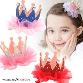 甜美珍珠蕾絲閃亮珠光粉立體皇冠髮夾 兒童 髮飾【HH婦幼館】