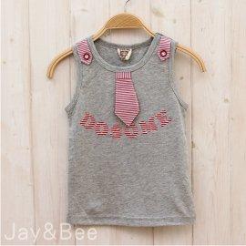 ~捷比 ~DooSun豆山~JD2096~帥氣立體雙色條紋領帶 棉質背心上衣~二色