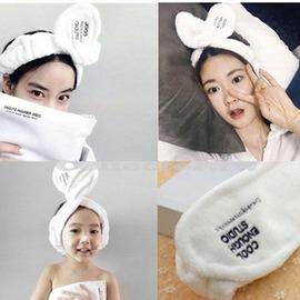 【J16051201】韓劇同款兔耳朵髮帶 可愛蝴蝶結束髮帶 法蘭絨洗臉束髮巾