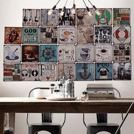 5Cgo ~ 七天交貨~45456830091 美式復古做舊鐵皮畫家居 裝飾畫咖啡廳酒吧服