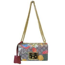 ~巴黎站  ~~GUCCI ~PVC 防水 彩色花朵圖案 金鏈 小型斜背包 肩背包