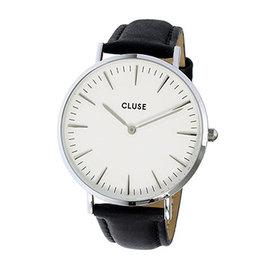 CLUSE荷蘭 手錶 波西米亞銀色系列 白錶盤 黑皮革錶帶手錶38mm