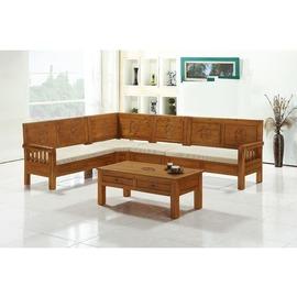 ~YC305~6~娜拉柚木L型組椅^(9874含座墊含大茶几^)