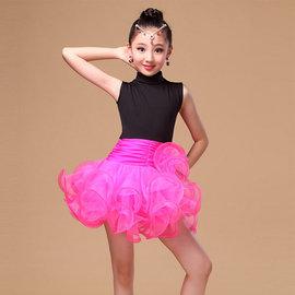5Cgo~ 七天交貨~527616639766 兒童拉丁舞演出服比賽考級服裝歐根紗蓬松裙擺