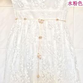 腰鍊金屬鍊條水鑽鑲嵌珍珠腰鍊女式百搭裝飾連衣裙細腰帶~韓風館~