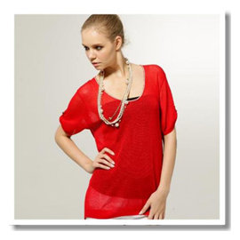 ~KIINO~U領輕透長版慵懶 款針織罩衫 ~0111~1622~03紅