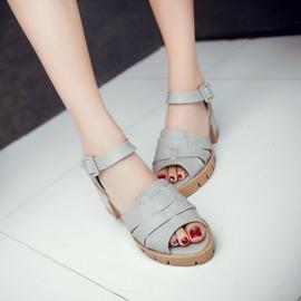 高跟涼鞋粗跟羅馬鞋大碼休閒鞋魚嘴防水台女鞋子~韓風館~