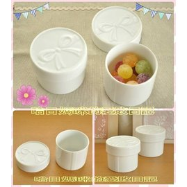 製 蝴蝶結白瓷保存盒(美濃焼)