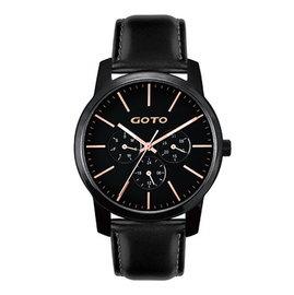 ~時間道~〔GOTO~錶〕簡約素面皮帶腕錶 黑面玫瑰金刻黑皮^(GL0385M~33~34