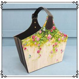 手提雜誌盒~LQ6~藤蔓玫瑰 摺疊收納盒 摺疊盒 雜誌盒 玩具盒 皮革置物盒~夢夢家族~