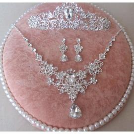 新娘飾品套裝韓式超閃水鑽皇冠頭飾項鍊結婚套裝婚紗配飾(韓風館)