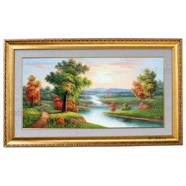 ^(大幅^)居家風水掛畫 豪美風景油畫~E1^(羅丹畫廊^)含框86X146公分^(100