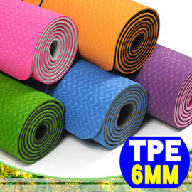 【SAN SPORTS】環保TPE雙色6MM瑜珈墊C155-159 (加長版.贈送瑜珈背袋收納袋)運動墊地墊子.止滑墊防滑墊.另售瑜珈鋪巾推薦哪裡買