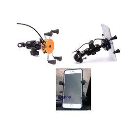 ~ X型夾機車手機架 ~ USB~2A充電 手機架 X型 重型機車 機車後照鏡手機架-C款