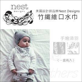 ~蟲寶寶~~美國Nest Designs~竹纖維系列口水巾^! 超強吸水 一盒兩入 ~手繪
