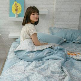 天絲床組 青色波斯王子  雙人加大鋪棉床包鋪棉兩用被四件組^(40S^) 100^%木漿纖