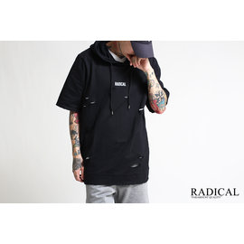 RADICAL 商店16 S S DESTRUCTION HOODY 破壞工藝短帽TEE