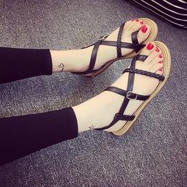 A 羅馬女式涼鞋女平跟 夾趾女鞋細帶平底女拖鞋鞋沙灘鞋~韓風館~