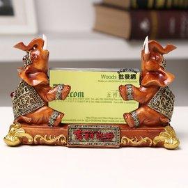5Cgo~ 七天交貨~521090241023 招財納福大象名片盒名片座樹脂立體 辦公桌面