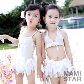 女童泳衣 小天鵝蕾絲泳裝附帽2款~6M080620~媽咪心星