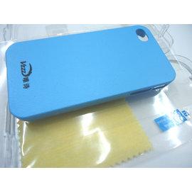 iphone4 / 4s 皮紋 皮套/手機殼/保護殼/保護套 (天藍-附贈螢幕保護貼) [ABO-00129]