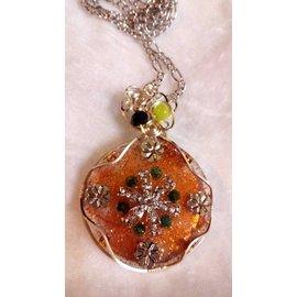 D0049~乙太能量項鍊.橘色圓型銀花