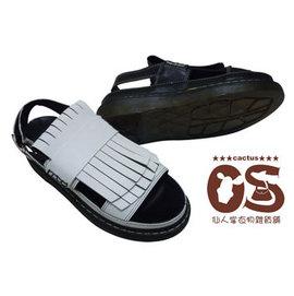 厚底流蘇涼鞋 扣式圓頭厚底涼鞋 透明橡膠彈性鞋底 白色 黑色~CS鞋包e舖~