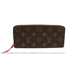 Louis Vuitton LV M42119 Clemence 花紋拉鍊長夾.桃紅 停產