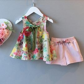 I BABY  女童 兒童 公主薄款 洋氣碎花 花色無袖 褲子 兩件套 套裝~QA0386