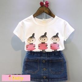 I BABY  女童 兒童 卡通女孩 短袖T恤 水洗牛仔 半身裙 兩件套 套裝~QA044