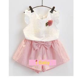 I BABY  女童 兒童 飛袖 蕾絲T恤 短褲裙 兩件套 套裝~QA0326~
