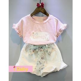 I BABY  女童 兒童 甜美花朵 短袖T恤 荷葉邊短褲 兩件套 套裝~QA0301~
