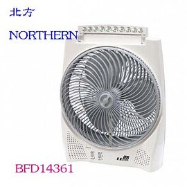 德國 北方 NORTHERN 14吋風罩充電式DC節能箱扇^(LED照明燈^) BFD14