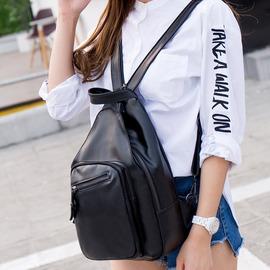 街頭雙肩包女 軟皮水洗皮大容量日韓多 學生胸包兩用女背包~韓風館~