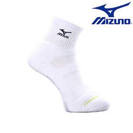【美津濃MIZUNO】基本款男運動厚底短襪 32TX600109 (白X黑)