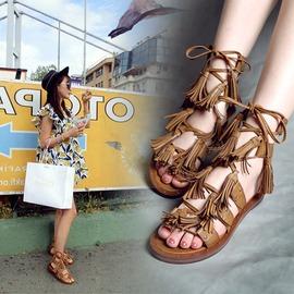 2016 羅馬鉚釘複古涼靴 交叉綁帶平底皮質流蘇涼鞋女