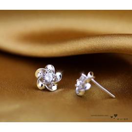 日韓國版耳飾銀飾品女士耳釘 925純銀可愛花朵 水晶防過敏耳環
