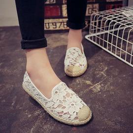 懶人鞋 休閒鞋 草編織蕾絲布鞋女 豆豆鞋平底女鞋樂福鞋