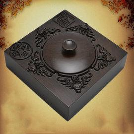 5Cgo ~ 七天交貨~522081394371 茶道黑檀木實木煙灰缸 煙缸帶蓋高檔歐式複