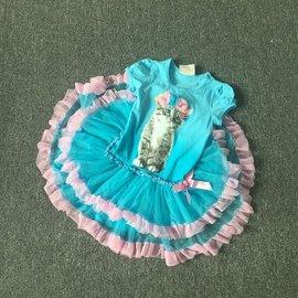 美國品牌漂亮貓咪軟紗洋裝.蓬蓬裙式上衣╱藍色 ^(3T^~7T^)