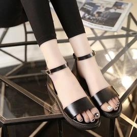 學院一字扣帶平底平跟露趾軟底女涼鞋孕婦羅馬沙灘鞋 ~韓風館~