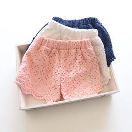 I BABY 開春 外貿 女童 超美 蕾絲 熱褲 寶寶 純棉 沙灘短褲~QU0109~